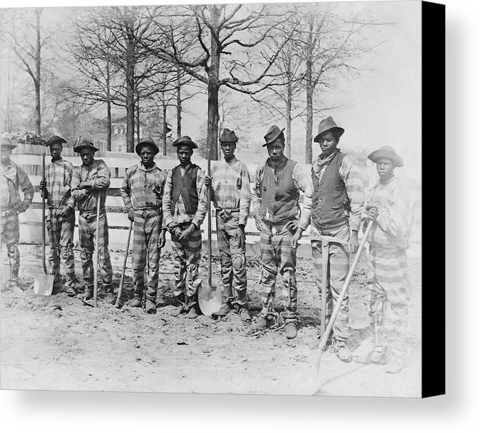 Chain Gang Canvas Print featuring the photograph Chain Gang C. 1885 by Daniel Hagerman