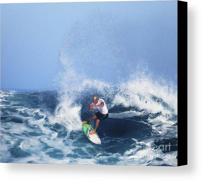 Vans Triple Crown Of Surfing Canvas Print featuring the photograph Charles Martin Pro Surfer In Hawaii by Scott Cameron