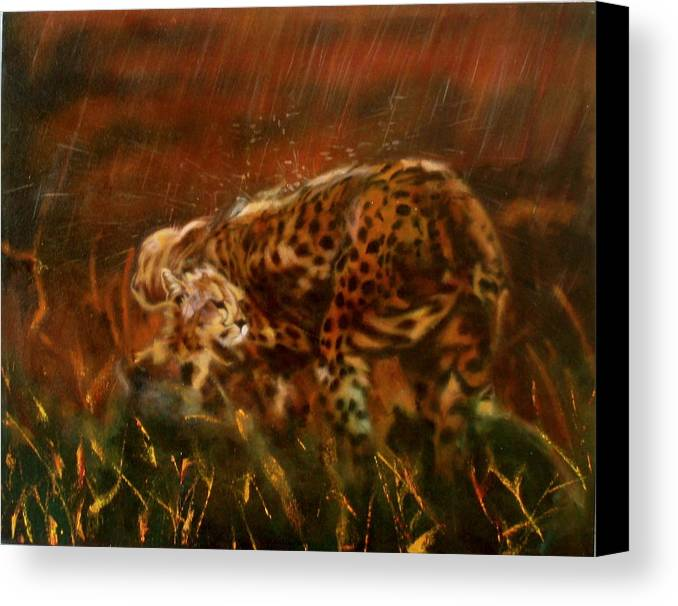 Rain;water;cats;africa;wildlife;animals;mother;shelter;brush;bush Canvas Print featuring the painting Cheetah Family After The Rains by Sean Connolly