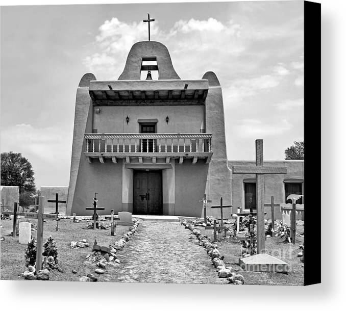 Pueblo Canvas Print featuring the photograph Church At San Ildefonso - Bw by Nikolyn McDonald