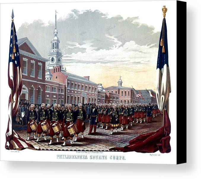 Civil War Pennsylvania Canvas Print featuring the painting Civil War Philadelphia Zouave Corps by Historic Image