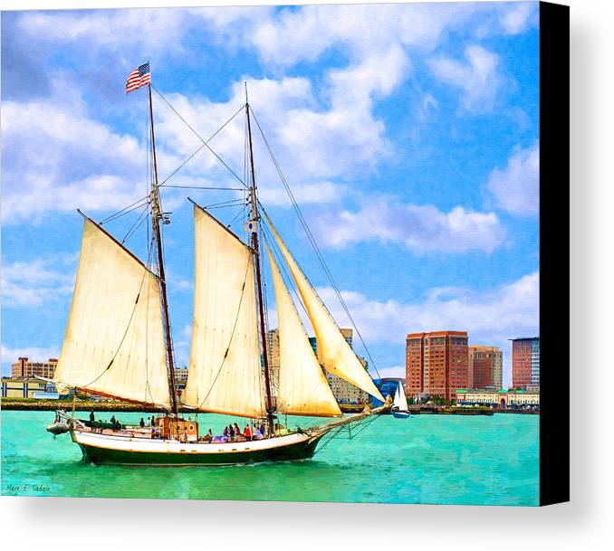Boston Harbor Canvas Print featuring the photograph Classic Tall Ship In Boston Harbor by Mark E Tisdale