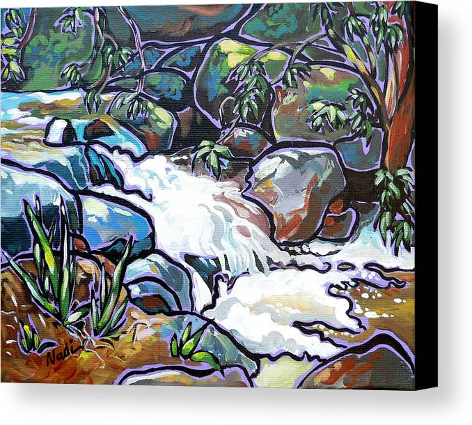 Creek Canvas Print featuring the painting Creek by Nadi Spencer