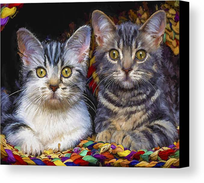 Cat Canvas Print featuring the painting Curious Kitties by David Wagner