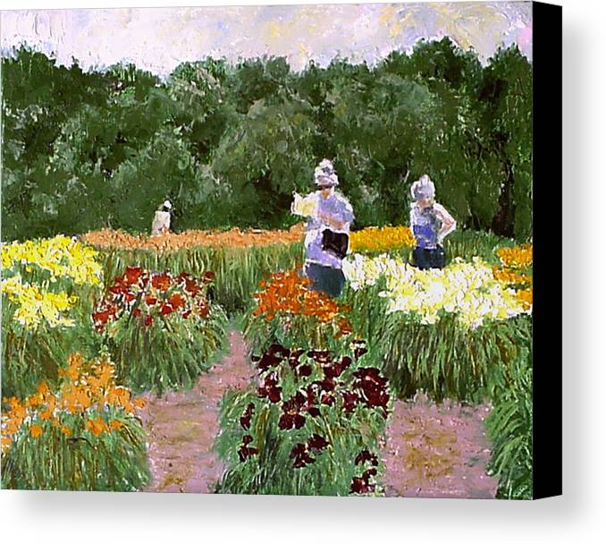 Landscape Paintings Canvas Print featuring the painting Daylily Decisions by David Zimmerman