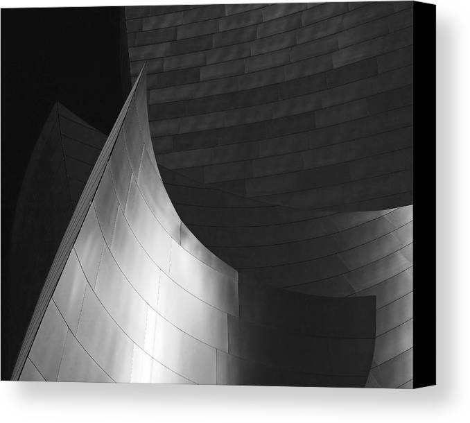 Walt Disney Concert Hall Canvas Print featuring the photograph Disney Hall Abstract Black And White by Rona Black