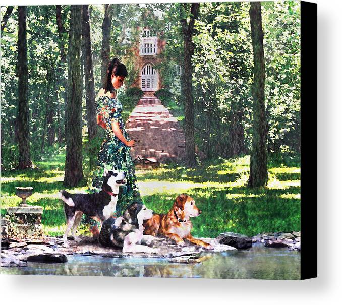 Landscape Canvas Print featuring the photograph Dogs Lay At Her Feet by Steve Karol