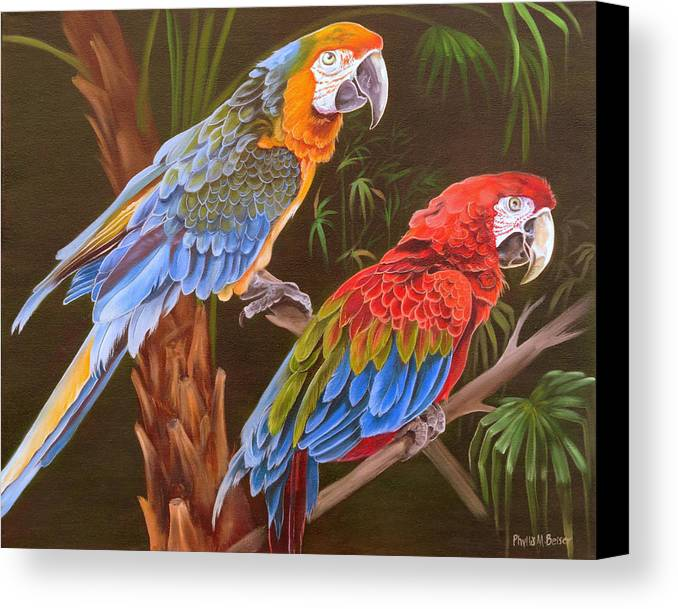 Birds Canvas Print featuring the painting Dynamic Duo by Phyllis Beiser