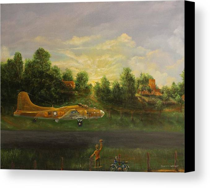 B-17 Canvas Print featuring the painting Early Departure by Robert Wright