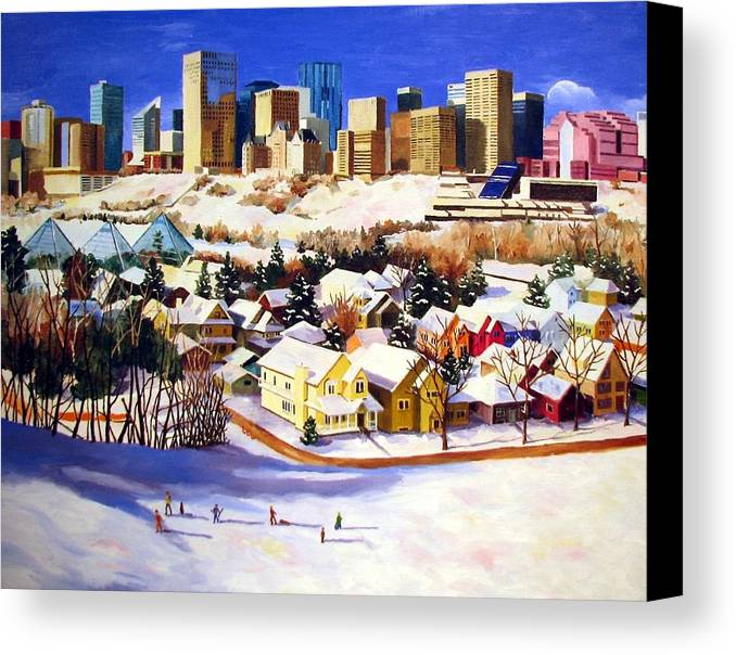 Urbanscape Canvas Print featuring the painting Edmonton In Winter by Nel Kwiatkowska