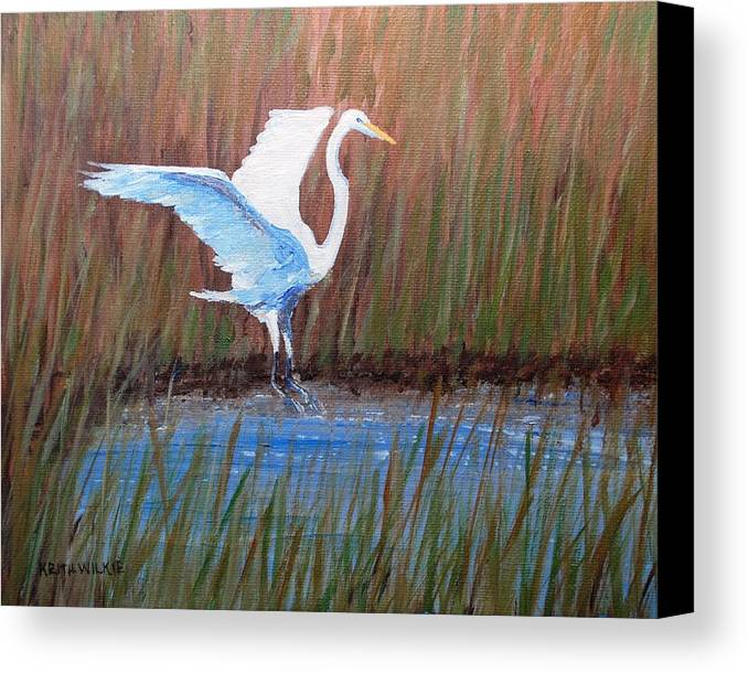 Egret Canvas Print featuring the painting Egret Landing by Keith Wilkie