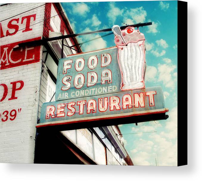 Retro Sign Photography Canvas Print featuring the photograph Elliston Place Soda Shop by Amy Tyler