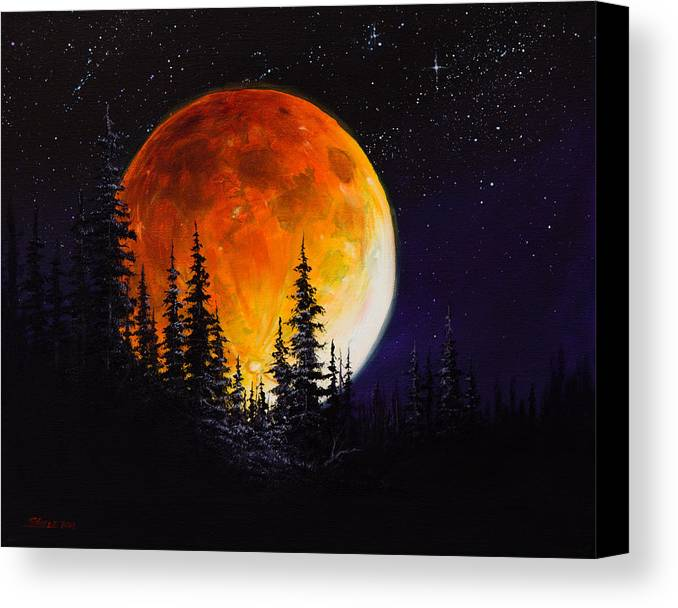 Full Moon Canvas Print featuring the painting Ettenmoors Moon by C Steele