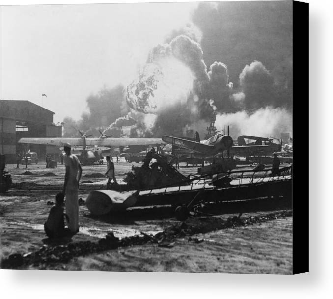 History Canvas Print featuring the photograph Explosion At Pearl Harbor Seen by Everett