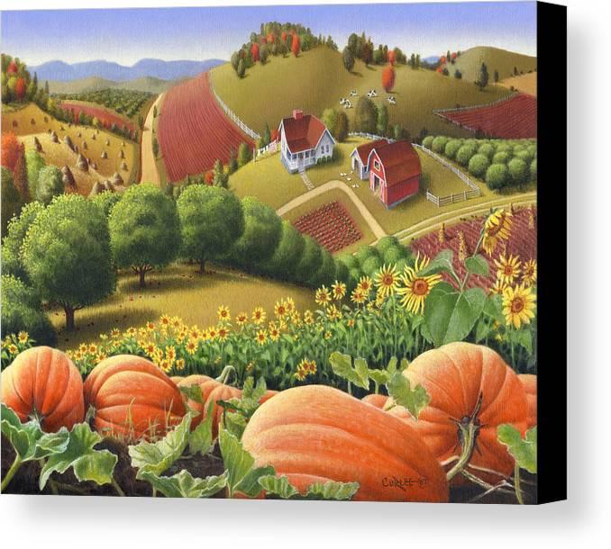 Pumpkin Canvas Print featuring the painting Farm Landscape - Autumn Rural Country Pumpkins Folk Art - Appalachian Americana - Fall Pumpkin Patch by Walt Curlee