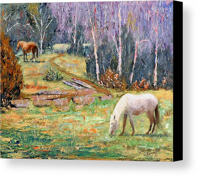 Landscape Canvas Print featuring the painting Farm Pleasure by Tommy Thompson