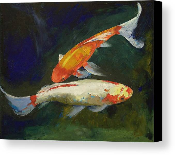 Feng shui koi fish canvas print canvas art by michael creese for Koi canvas print