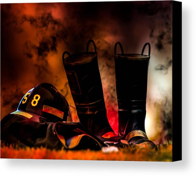 Courage Canvas Print featuring the photograph Firefighter by Bob Orsillo