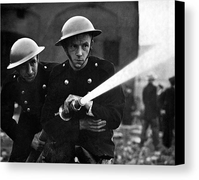 History Canvas Print featuring the photograph Firemen Training In A Combined War by Everett