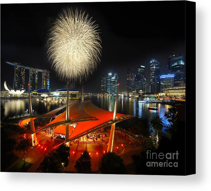 Anniversary Canvas Print featuring the photograph Fireworks By The Bay by Jenny Zhang