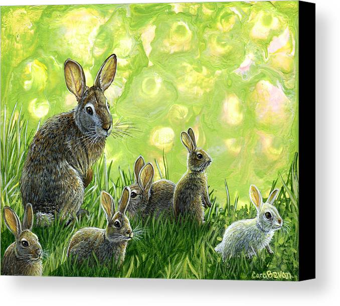 Rabbit Canvas Print featuring the painting First Spring by Cara Bevan