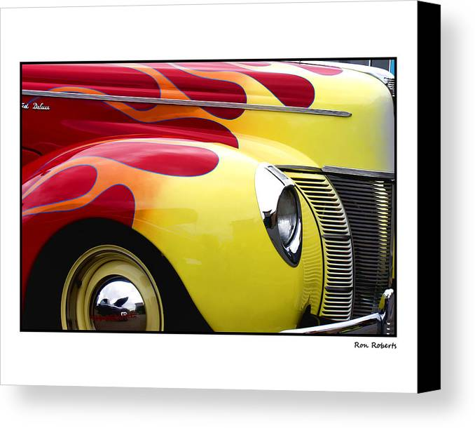Auto Canvas Print featuring the photograph Flamed Ford by Ron Roberts