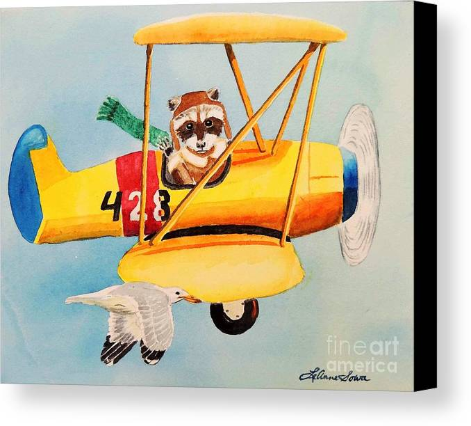 Biplane Canvas Print featuring the painting Flying Friends by LeAnne Sowa