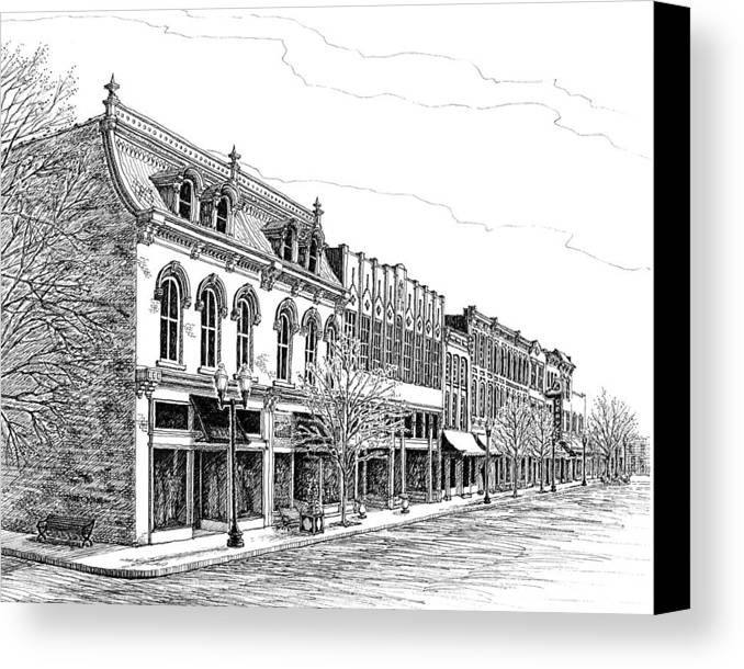 Pen And Ink Drawing Canvas Print featuring the drawing Franklin Main Street by Janet King