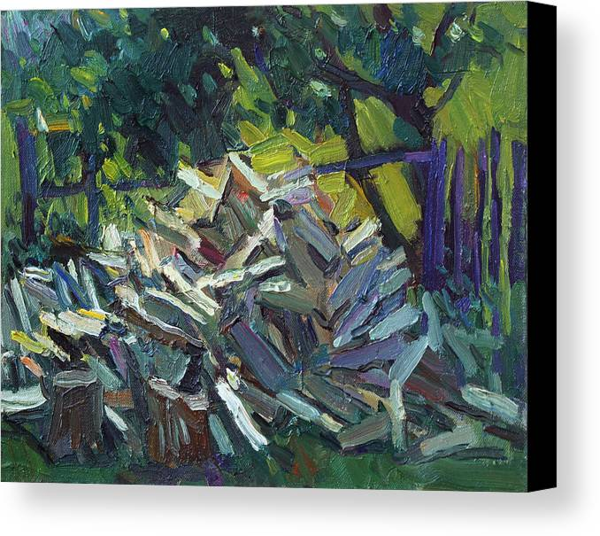 Firewoods Canvas Print featuring the painting Fresh Firewoods by Juliya Zhukova