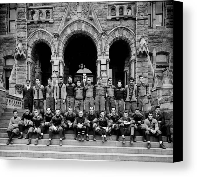 Football Canvas Print featuring the photograph Georgetown Football 1910 by Benjamin Yeager