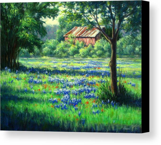 Vickie Fears Canvas Print featuring the painting Glen Rose Bluebonnets by Vickie Fears