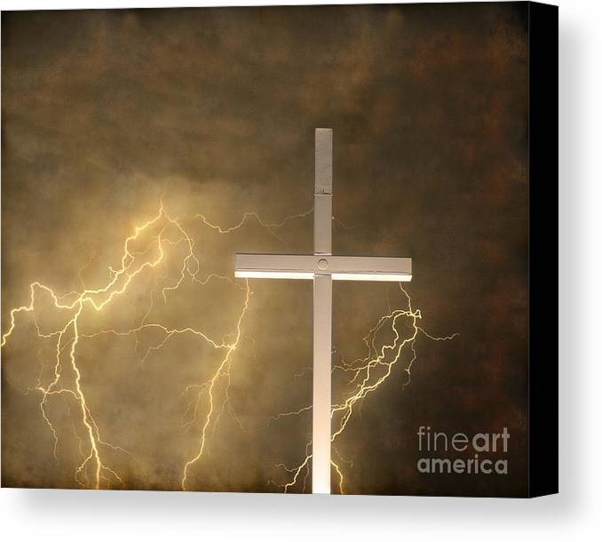 Lightning Canvas Print featuring the photograph Good Friday In Sepia Texture by James BO Insogna