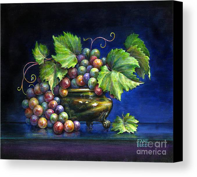 Still Life Canvas Print featuring the painting Grapes In A Footed Bowl by Jane Bucci