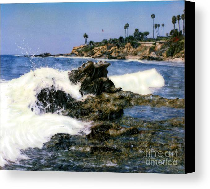 Heisler Park Waves Laguna Canvas Print featuring the photograph Heisler Park Waves Laguna by Glenn McNary