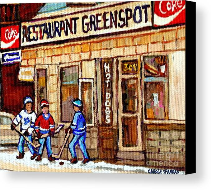 Restaurant Greenspot Canvas Print featuring the painting Hockey And Hotdogs At The Greenspot Diner Montreal Hockey Art Paintings Winter City Scenes by Carole Spandau