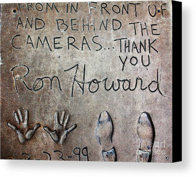 Ron Howard Canvas Print featuring the photograph Hollywood Chinese Theatre Ron Howard 5d29035 by Wingsdomain Art and Photography