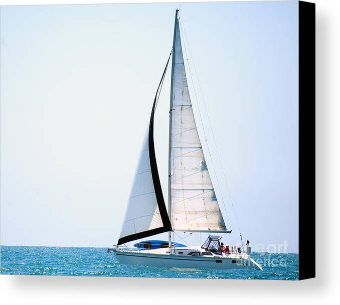 Sailing Canvas Print featuring the photograph Hope Floats Sailboat From The Book My Ocean by Artist and Photographer Laura Wrede