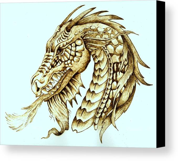 Dragon Canvas Print featuring the pyrography Horned Dragon by Danette Smith