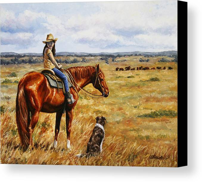 Western Canvas Print featuring the painting Horse Painting - Waiting For Dad by Crista Forest