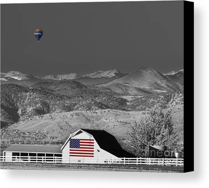 Barns Canvas Print featuring the photograph Hot Air Balloon With Usa Flag Barn God Bless The Usa Bwsc by James BO Insogna
