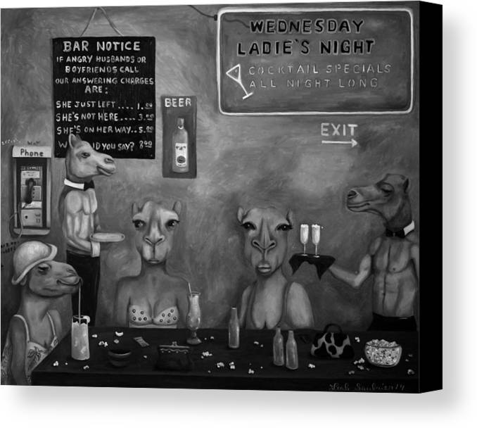 Hump Day Canvas Print featuring the painting Hump Day Bw by Leah Saulnier The Painting Maniac