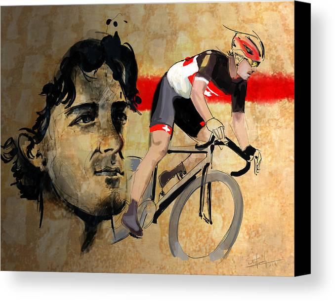 Cancellara Canvas Print featuring the digital art Ink Portrait Illustration Print Of Cycling Athlete Fabian Cancellara by Sassan Filsoof