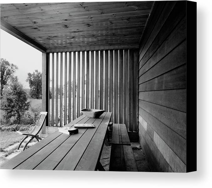 Home Canvas Print featuring the photograph Interior End Of Porch With Vertical Louvers by P.A. Dearborn