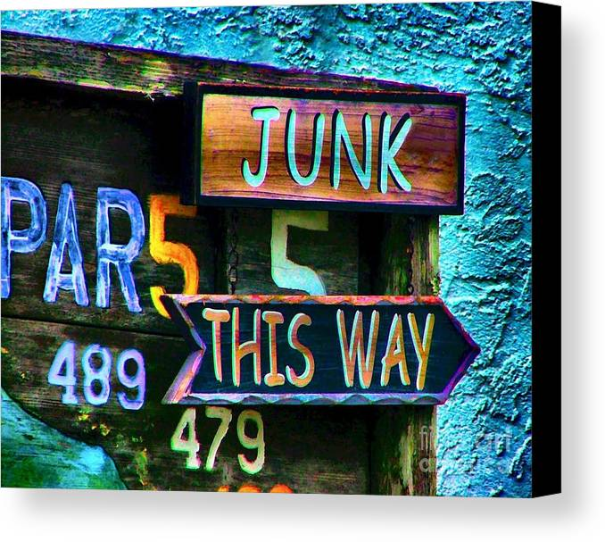 Sign In Florida Canvas Print featuring the photograph Junk This Way by Julie Dant