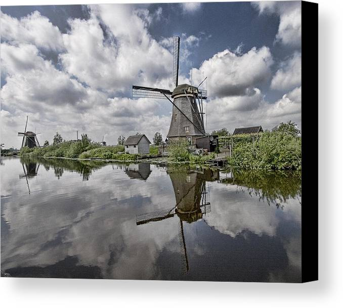 Kinderdijk Canvas Print featuring the photograph Kinderdijk by Hugh Smith