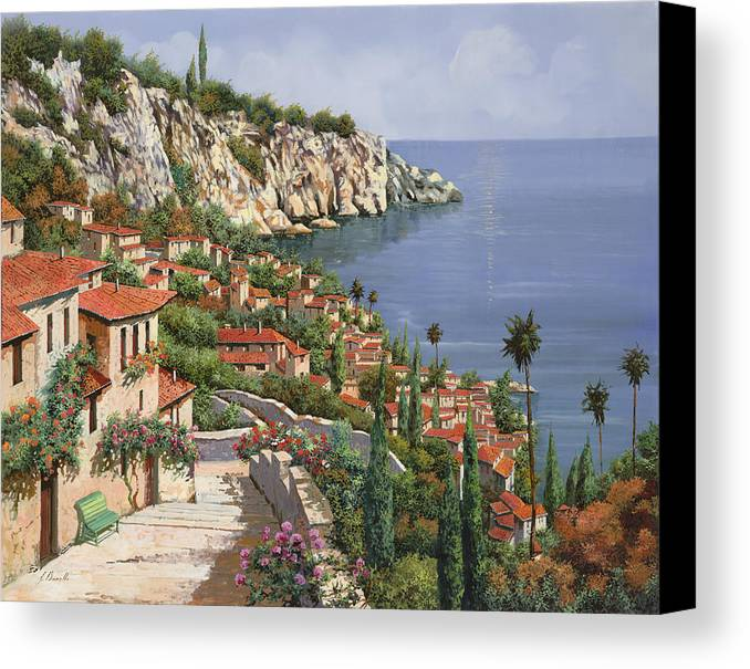 Seascape Canvas Print featuring the painting La Costa by Guido Borelli