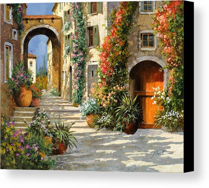 Landscape Canvas Print featuring the painting La Porta Rossa Sulla Salita by Guido Borelli