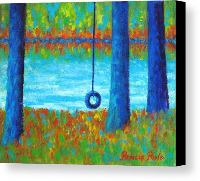 Tire Swing Canvas Print featuring the painting Lake Swing Tranquility by Pamela Poole