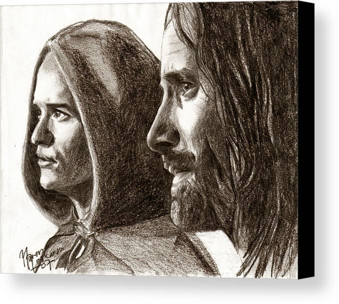 The Lord Of The Rings Canvas Print featuring the drawing Legolas And Aragorn by Maren Jeskanen