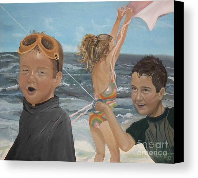 Portrait Canvas Print featuring the painting Beach - Children Playing - Kite by Jan Dappen